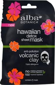 3 PACK of Alba Botanica Hawaiin Detox Sheet Mask Volcanic Clay -- 1 Mask