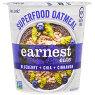 3 PACK OF Earnest Eats, SuperFood Oatmeal Cup, Blueberry + Chia + Cinnamon, Superfood Blueberry Chia, 2.35 oz (67 g)