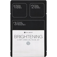 3 PACK OF Nu-Pore, Brightening 3-Step Charcoal Facial Set, 1 Pack