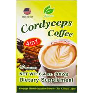 3 PACK OF Longreen Corporation, 4 in 1 Cordyceps Coffee, 10 Sachets, 6.4 oz (182 g)