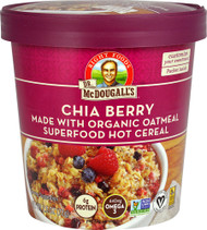 5 PACK of Dr. McDougalls Non-GMO Superfood Hot Cereal Cup  Chia Berry - 2.5 oz