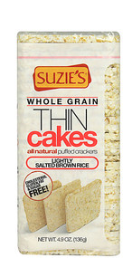 3 PACK of Suzies Thin Puffed Cakes Gluten Free Brown Rice Lightly Salted -- 4.9 oz