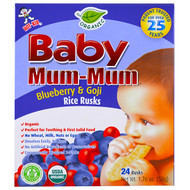 3 PACK OF Hot Kid, Baby Mum-Mum, Organic Rice Rusk, Blueberry & Goji Rice Rusks, 24 Rusks, 17.6 oz  (50 g) Each