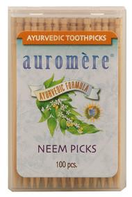 3 PACK of Auromere, Ayurvedic Toothpicks, Neem Picks, 100 Pieces