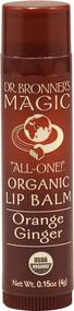 Dr. Bronners, Magic Organic Lip Balm Orange Ginger - 0.15 oz -5 PACK