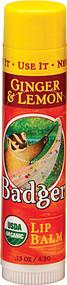 Badger, Organic Lip Balm,  Ginger and Lemon - 0.15 oz -5 PACK