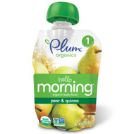 5 PACK of Plum Organics, Hello Morning, Organic Baby Food, Stage 1, Pear & Quinoa, 3.5 oz (99 g)