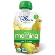 Plum Organics, Hello Morning, Organic Baby Food, Stage 1, Pear & Quinoa, 3.5 oz (99 g)