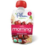 Plum Organics, Hello Morning, Organic Baby Food, Stage 1, Cherries & Oats, 3.5 oz (99 g)