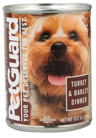 PetGuard, Canned Dog Food,  Turkey and Barley Dinner - 13.2 oz -5 PACK