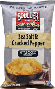 Boulder Canyon, Authentic Foods Kettle Cooked Potato Chips,  Sea Salt & Cracked Pepper - 5 oz -5 PACK