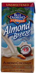 Blue Diamond, Unsweetened Coconut Almond Breeze,  Original - 32 fl oz -5 PACK