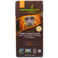 3 PACK of Endangered Species Chocolate, Natural Dark Chocolate With Cinnamon, Cayenne & Cherries, 3 oz (85 g)