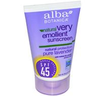 3 PACK of Alba Botanica, Natural Very Emollient, Sunscreen, SPF 45, Pure Lavender, 1 oz (28 g)