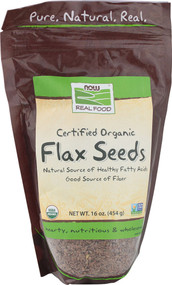 3 PACK of NOW Real Food Certified Organic Flax Seeds -- 16 oz