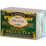 3 PACK of St. Dalfour, Organic Green Tea, Ginger & Honey, 25 Tea Bags, (.07 oz (2 g) Each