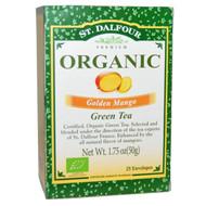 3 PACK of St. Dalfour, Organic, Golden Mango Green Tea, 25 Envelopes, 1.75 oz (50 g)