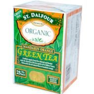 3 PACK of St. Dalfour, Organic, Green Tea, Mandarin Orange, 25 Tea Bags, 1.75 oz (50 g)