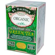 3 PACK of St. Dalfour, Organic, Green Tea, Strawberry Rose, 25 Tea Bags, 1.75 oz (50 g)