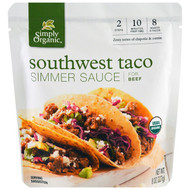 3 PACK OF Simply Organic, Organic Simmer Sauce, Southwest Taco, For Beef, 8 oz (227 g)