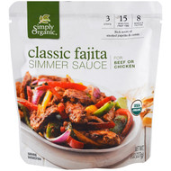 3 PACK OF Simply Organic, Organic Simmer Sauce, Classic Fajita, For Beef or Chicken, 8 oz (227 g)