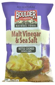 Boulder Canyon, All Natural Kettle Cooked Potato Chips,  Malt Vinegar and Sea Salt - 5 oz -5 PACK
