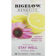 Bigelow, Benefits, Stay Well, Lemon & Echinacea Herbal Tea, 18 Tea Bags, 1.15 oz (32 g)