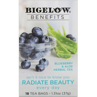 Bigelow, Benefits, Radiate Beauty, Blueberry & Aloe Herbal Tea, 18 Tea Bags, 1.31 oz (37 g)