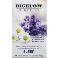 3 PACK OF Bigelow, Benefits, Sleep, Chamomile & Lavender Herbal Tea, 18 Tea Bags, 1.06 oz (30 g)