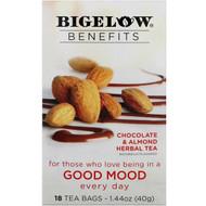 3 PACK OF Bigelow, Benefits, Good Mood, Chocolate & Almond Herbal Tea, 18 Tea Bags, 1.44 oz (40 g)