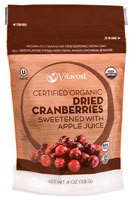5 PACK of Vitacost Certified Organic Dried Cranberries Sweetened with Apple Juice - 4 oz (113 oz)