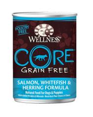 3 PACK of Wellness Core Canned Dog Food Grain Free Salmon Whitefish & Herring Formula -- 12.5 oz
