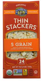 Lundberg, Organic Thin Stackers Puffed Grain Cakes,  5 Grain - 5.9 oz -5 PACK
