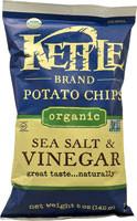 Kettle Foods Organic Potato Chips  Sea Salt & Vinegar - 5 oz (5 PACK)