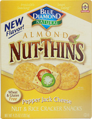 Blue Diamond, Natural Almond Nut-Thins Cracker Snacks,  Pepper Jack Cheese - 4.25 oz -5 PACK