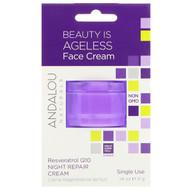 3 PACK OF Andalou Naturals, Night Repair Cream, Resveratrol Q10, Single Use, .14 oz (4 g)