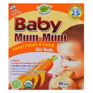3 PACK OF Hot Kid, Baby Mum-Mum, Organic Sweet Potato & Carrot Rice Rusks, 24 Rusks, 1.76 oz (50 g) Each