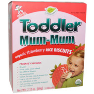 3 PACK of Hot Kid, Toddler Mum-Mum, Organic Strawberry Rice Biscuits, 24 Biscuits, 2.12 oz (60 g)