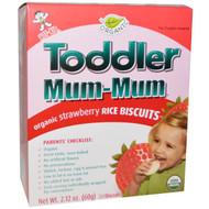 3 PACK of Hot Kid, Toddler Mum-Mum, Organic Rice Biscuits, Strawberry, 12 Packs, 2.12 oz (60 g)