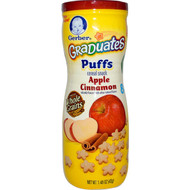 3 PACK of Gerber, Puffs Cereal Snack, Crawler, 8+ Months, Apple Cinnamon, 1.48 oz (42 g)