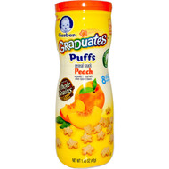 3 PACK of Gerber, Puffs Cereal Snack, Crawler, 8+ Months, Peach, Crawler, 1.48 oz (42 g)