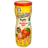 3 PACK of Gerber, Puffs Cereal Snack, Crawler, 8+ Months, Strawberry Apple, 1.48 oz (42 g)