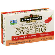 3 PACK of Crown Prince Natural, Naturally Smoked Oysters with Red Chili Peppers, Mildly Spiced, 3 oz (85 g)