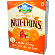 3 PACK of Blue Diamond Almond Nut-Thins Nut & Rice Cracker Snacks Cheddar Cheese -- 4.25 oz