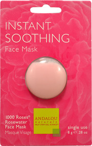 3 PACK of Andalou Naturals, Instant Soothing, 1000 Roses Rosewater Face Mask, .28 oz (8 g)