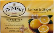 Twinings, Herbal Tea,  Lemon and Ginger - 20 Tea Bags -5 PACK
