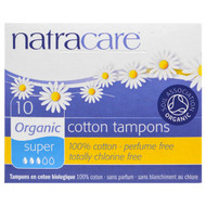 3 PACK of Natracare, Organic Cotton Tampons, Super, 10 Tampons