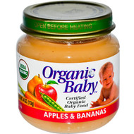 Organic Baby, Certified Organic Baby Food, Apples & Bananas, 4 oz (113 g) (5 PACK)