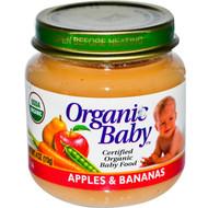 Organic Baby, Certified Organic Baby Food, Apples & Bananas, 4 oz (113 g) (5 PACK)