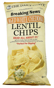 5 PACK of The Daily Crave Lentil Chips  Aged White Cheddar - 5 oz